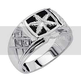 925 Sterling Silver CZ and Onyx Marijuana Leaf Embossed Mens Ring