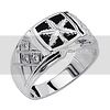 .925 Sterling Silver CZ and Onyx Marijuana Leaf Embossed Mens Ring