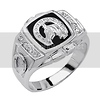 .925 Sterling Silver CZ and Onyx Lucky Horseshoe Embossed Mens Ring