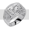 .925 Sterling Silver CZ Diamond Cut Revolving Pistol Mens Ring