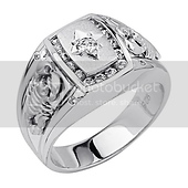 Sterling Silver Diamond Cut CZ Scorpion Mens Ring