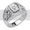 .925 Sterling Silver CZ Scorpion Diamond Cut Mens Ring