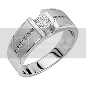 Men's Wide CZ Sterling Silver Wedding Band