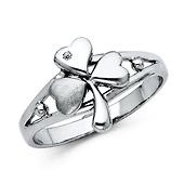 Shamrock CZ Women's Sterling Silver Ring