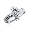 .925 Sterling Silver CZ Crucifix Womens Ring