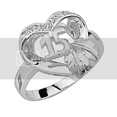 Sweet 15 Heart & Leaf CZ Sterling Silver Quinceanera Ring