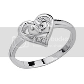 Women's Sweet 15 Heart CZ Sterling Silver Quinceanera Ring