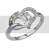 Colored CZ Sweet 15 Heart Sterling Silver Quinceanera Ring