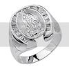 Our Lady Guadalupe & Horseshoe CZ Silver Men's Catholic Ring