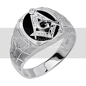 Mens Sterling Silver CZ & Onyx Embossed Masonic Ring