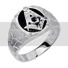 .925 Sterling Silver CZ and Onyx Embossed Masonic Mens Ring