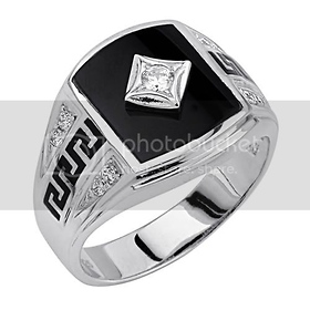 sterling silver cz & onyx mens ring