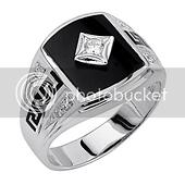 Onyx Greek Key Sterling Silver CZ Mens Ring