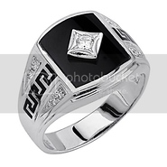black onyx and silver men's ring