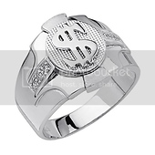 .925 Sterling Silver CZ Embossed Dollar Sign Mens Ring