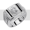 .925 Sterling Silver CZ and Onyx Turtle Scorpio Astrological Mens Ring