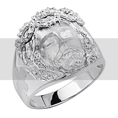 Jesus Crown of Thorns & Cross CZ Mens Sterling Silver Ring