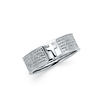 Lord's Prayer Embossed Cross Sterling Silver Men's Christian Ring