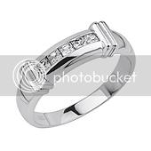 Sterling Silver .925 Channel Princess-Cut CZ Men's Wedding Ring