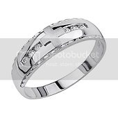 Contemporary Cross CZ Sterling Silver Mens Christian Wedding Band