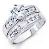 Christian Cross Milgrain Round CZ Wedding Ring Set - Sterling Silver