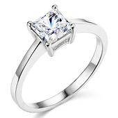 Sterling Silver Princess Cut Solitaire CZ Engagement Ring