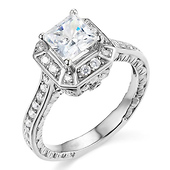 Antique Style Princess Cut Halo CZ Engagement Ring in Sterling Silver