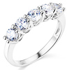 .925 Sterling Silver Round-cut CZ Cubic Zirconia Five Stone Ladies Wedding Band Ring