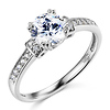 Classic 14K White Gold Round CZ Engagement Ring