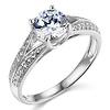 Trellis Split Shank 14K White Gold Round CZ Engagement Ring - Sterling Silver