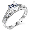 Trellis Split Shank 14K White Gold Round CZ Engagement Ring