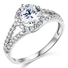 14K White Gold Split Shank Halo Round CZ Engagement Ring