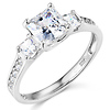 14K White Gold 3 Stone Princess Cut CZ Engagement Ring with Side Stones