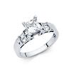 14K White Gold Baguette & Solitaire Princess Cut CZ Engagement Ring