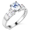 14K White Gold Baguette & Solitaire Round-Cut CZ Engagement Ring