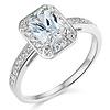 14K White Gold Halo Emerald Cut CZ Engagement Ring