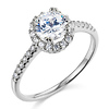14K White Gold Halo Round Cut CZ Engagement Ring