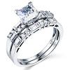 14K White Gold Princess Cut CZ Wedding Ring Set