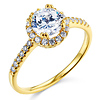 14K Yellow Gold Round Halo CZ Engagement Ring