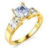 14K Yellow Gold Asscher Cut CZ Engagement Ring