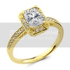 14K Yellow Gold Radiant CZ Engagement Ring