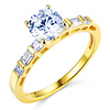 14K Yellow Gold Round Cut CZ Engagement Ring
