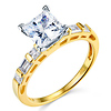 14K Yellow Gold Baguette & Solitaire Princess CZ Engagement Ring