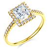 14K Yellow Gold Pave Halo Princess CZ Engagement Ring