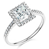 14K White Gold Princess Halo CZ Engagement Ring