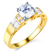 14K Yellow Gold Round Cut CZ Wedding Engagement Ring