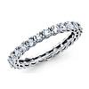 14K White Gold Round-Cut CZ Cubic Zirconia Eternity Ring Wedding Band