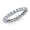 14K White Gold Round-cut CZ Cubic Zirconia Ladies Wedding Eternity Ring Band