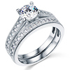 Round Cut with Side Stone 14K White Gold CZ Engagement Ring Set