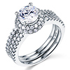 Split Shank Halo Round Cut 14K White Gold CZ Engagement Ring Set